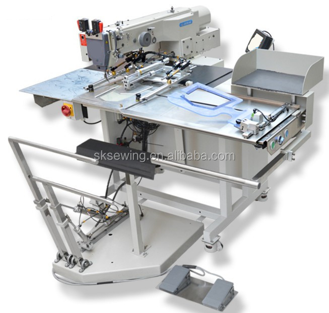 Automatic pocket attaching electronic pattern setter industrial sewing machine