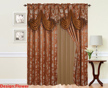 "Elegance BURGUNDY Jacquard Curtain Panel Set with Attached Valance 55"" X 84 inch (Set of 2)"