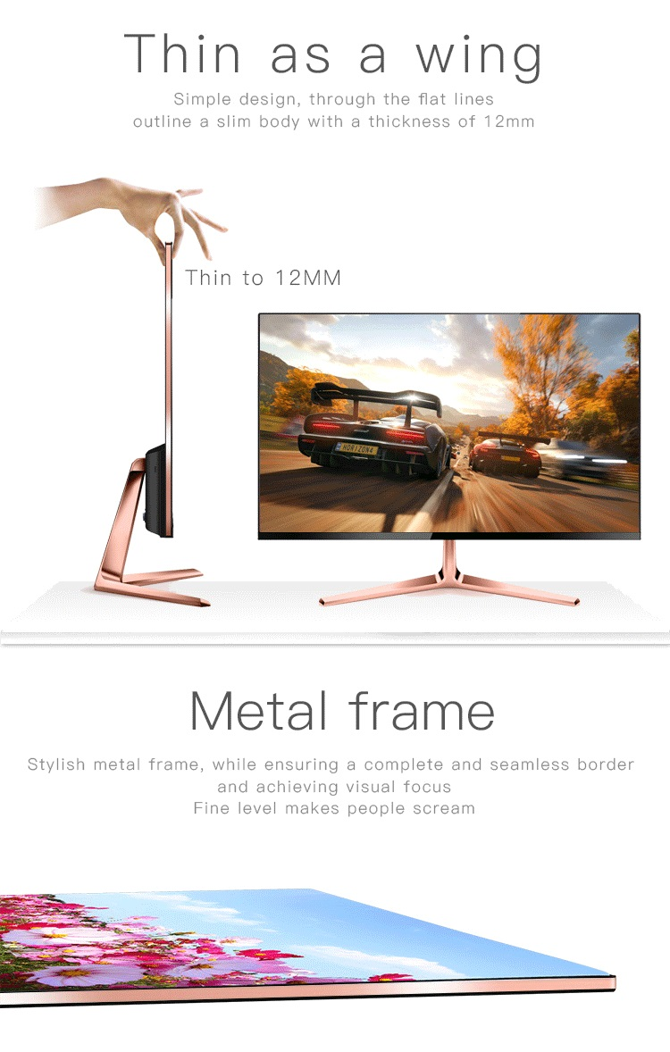 super slim wall mount 12v dc 24 inch 1080p ips full hd computer lcd monitor d-sub