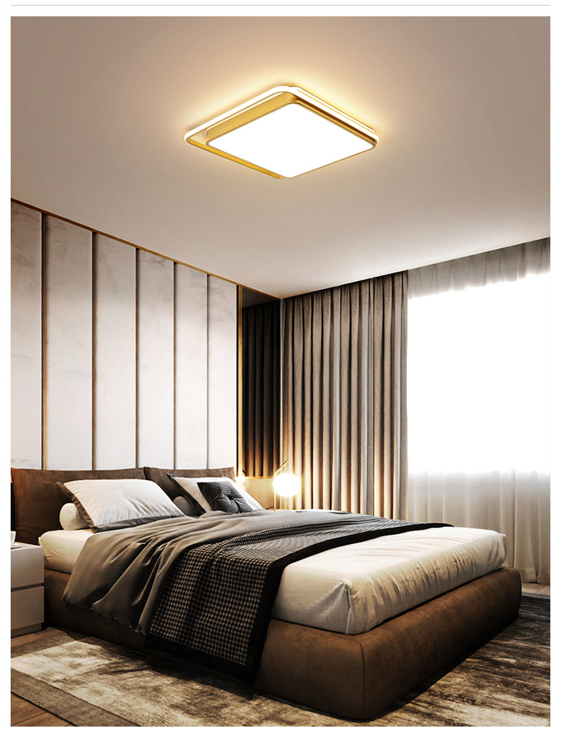 Ceiling lamp led ultra-thin bedroom lamp modern square round golden lamp