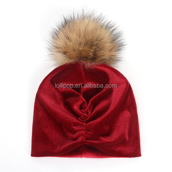 New India's hat for Girls with pompoms ball Winter Fashion Caps Head Wraps Baby Pleuche Hats