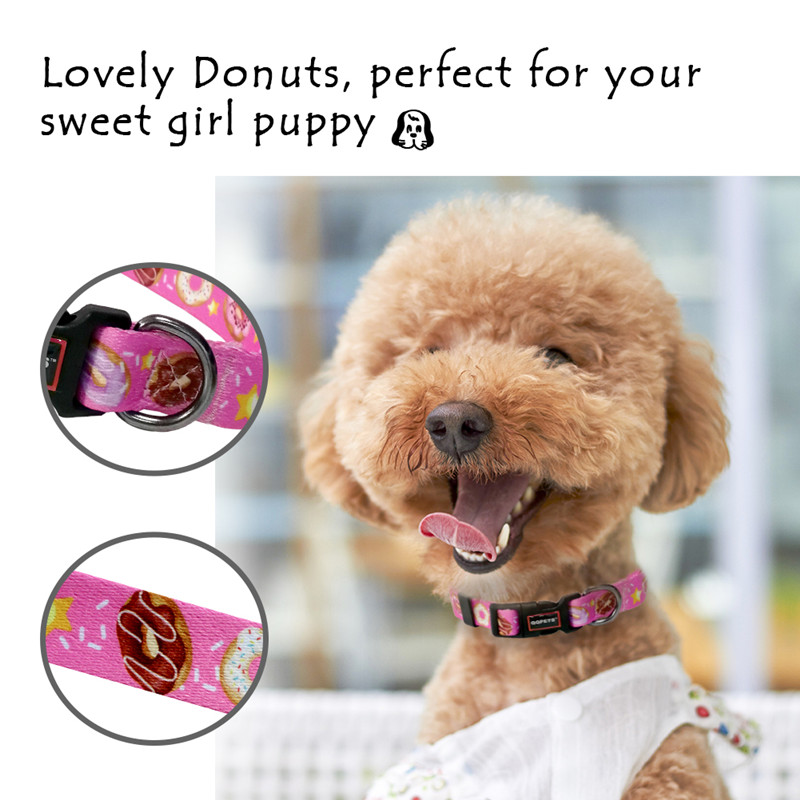 Wholesale cute style pet accessories print label polyester dog collar leash