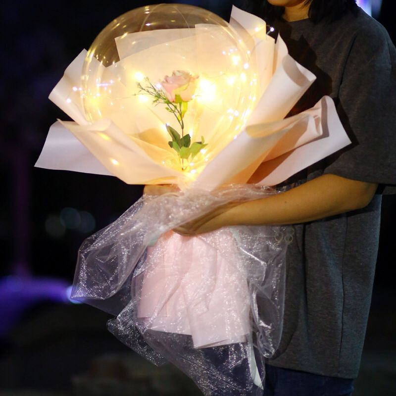Commercial <strong>LED</strong> Luminous Balloon Rose Bouquet golden floating helium <strong>led</strong> rose balloon lights for Valentines day Gift