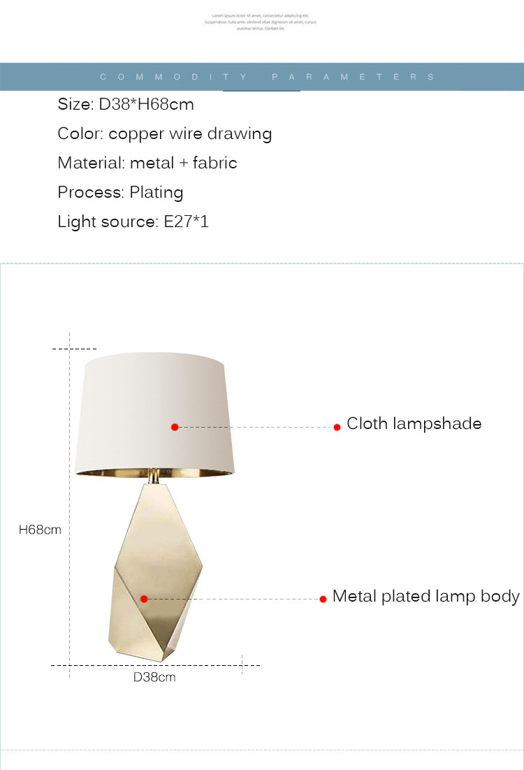 2020 new nordic hardware lamp body fabric desk bedside reading dimmable table lamp, wholesale cheap