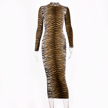 leopard print long sleeve slim bodycon sexy dress 2019 autumn winter women streetwear party festival dresses outfits