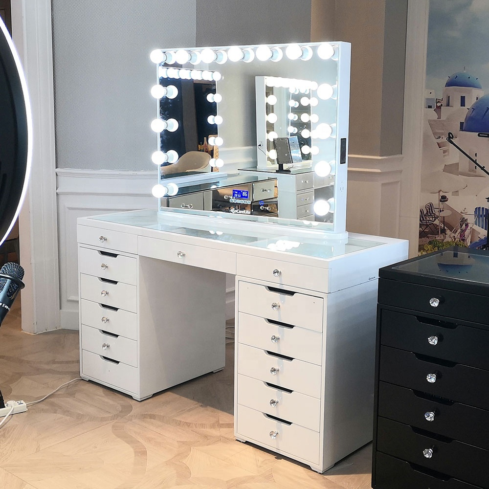 Stock on USA! Docarelife White Wood Modern Makeup Table Vanity Sets Dressing Table with Lighted Mirror
