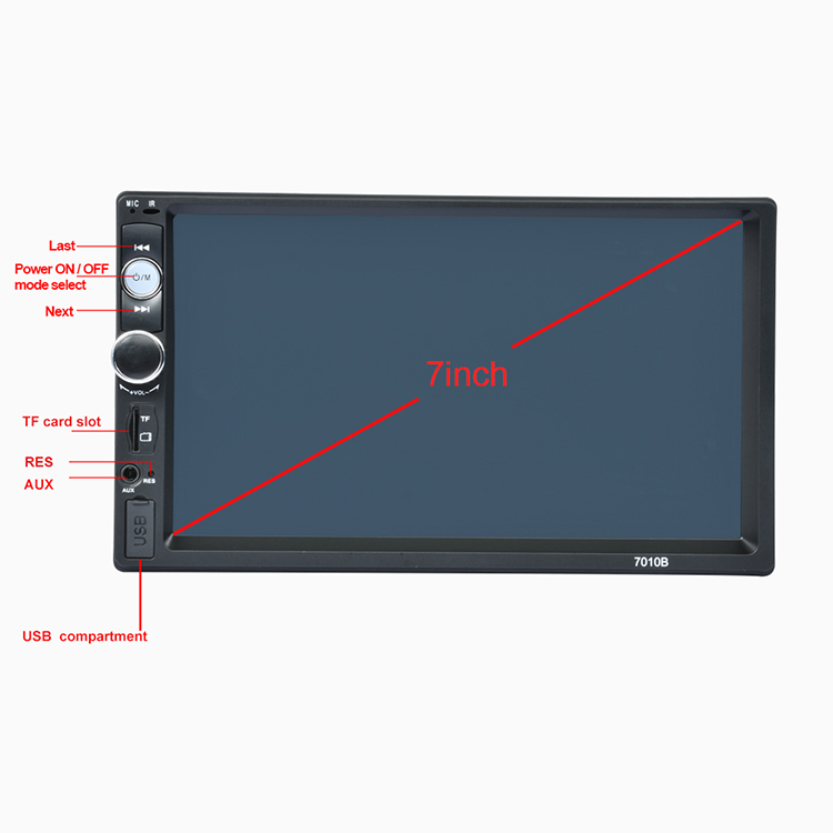 "Factory Direct 2 Din 7"" Touch Screen MP5 Player Car Radio Stereo Car Audio Remote Control Auto Music Stereo 7010B"