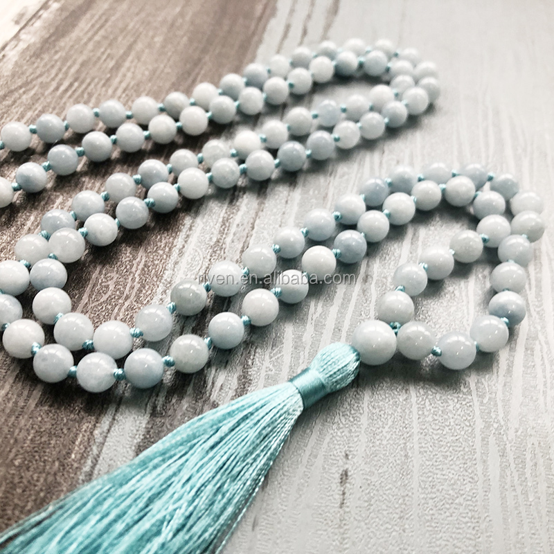 ST0625 108 Beads Mala Yoga Jewelry Gift Healing Prayer Stone Tassel Necklace For Men and Women 8mm Aquamarine knotted Necklace