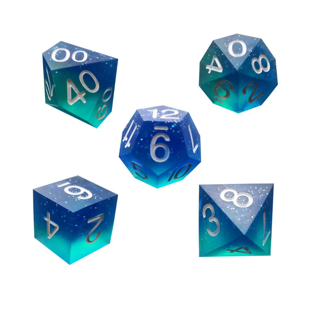 Super Sharp Gamer Dice Set of 7 D4 D6 D8 D10 <strong>D12</strong> D20 Handmade Starry Sky Blade Games Metal Dice Resin Polyhedral Backgammon Dice
