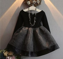 <strong>Girl's</strong> Spring and autumn fashional <strong>dress</strong> little <strong>girl's</strong> received waist <strong>dress</strong> Korean princess <strong>dress</strong>