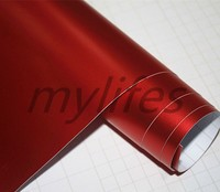 Premium Red Satin Chrome Vinyl Wrap With Air Bubble Free For Car Wrap foil Covering / coating New Car Wrap 1.52x20m
