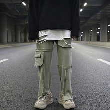 Dropshipping solid color straight men casual pants stock vintage men sweat pants