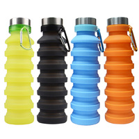 Custom logo big Capacity biker kettle Outdoor Collapsible Silicone Sports Water Bottle