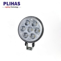 2018 China supplier 24W 1300lm led headlight round high power headlamp car truck tractor led work light