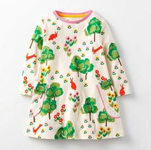 New fashion cotton <strong>girl's</strong> long-sleeve kids <strong>dress</strong> baby toddler girl animal printing <strong>dress</strong>