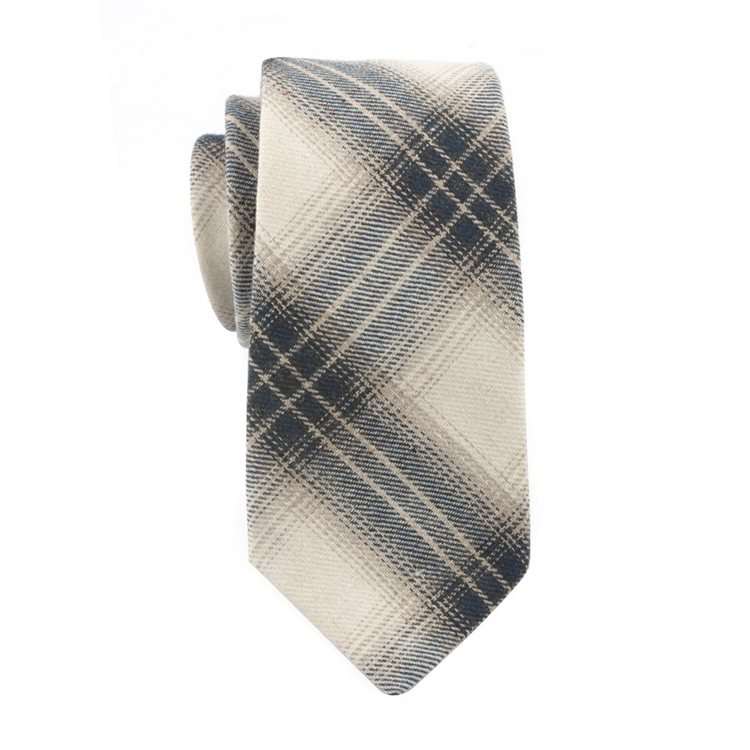 Fashion Black Checked Ties White Cotton Woven Mens Necktie