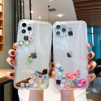 For iPhone 11Po Case Stylish Funny Mobile Application Icons Phone Case For iphone 11 Flashing Dynamic Liquid Quicksand Back Case