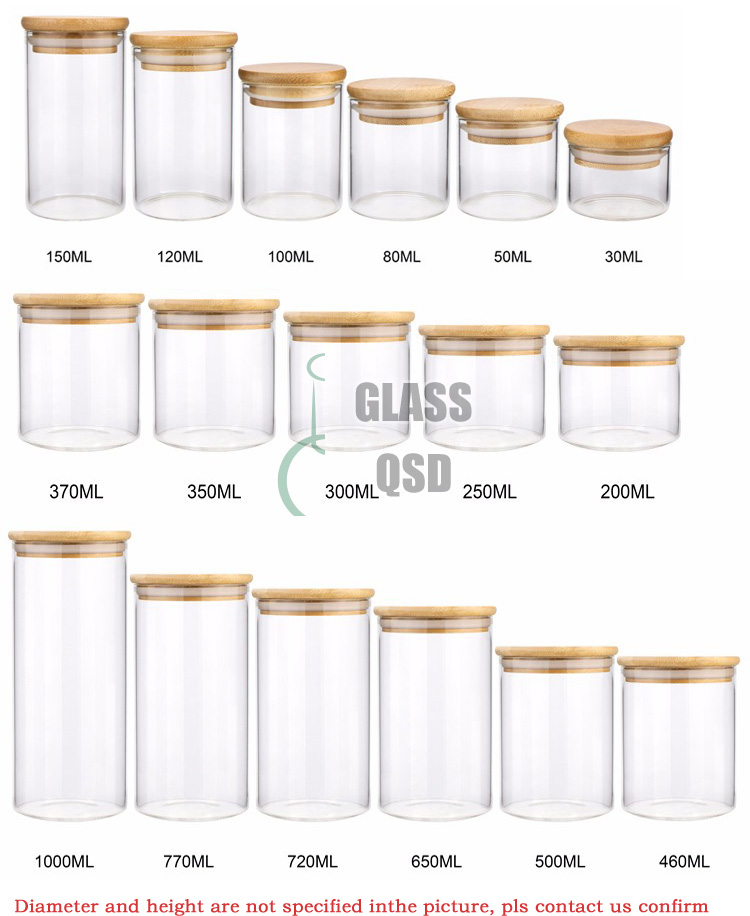 30 40 60 80 100 120 200 300 500 ml Glass Jar Container With Bamboo Lid For Storage 5.jpg