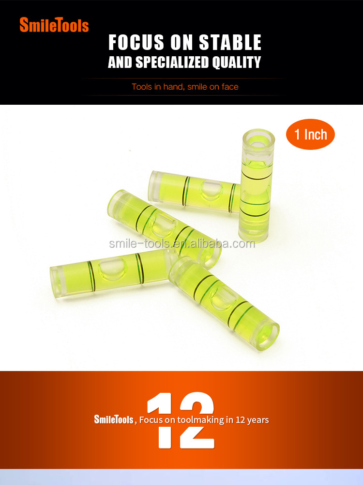 Cylindrical Bubble Levels Plastic Pipe Vials Mini Spirit Level For Photo Frame Precision Bubble Vials