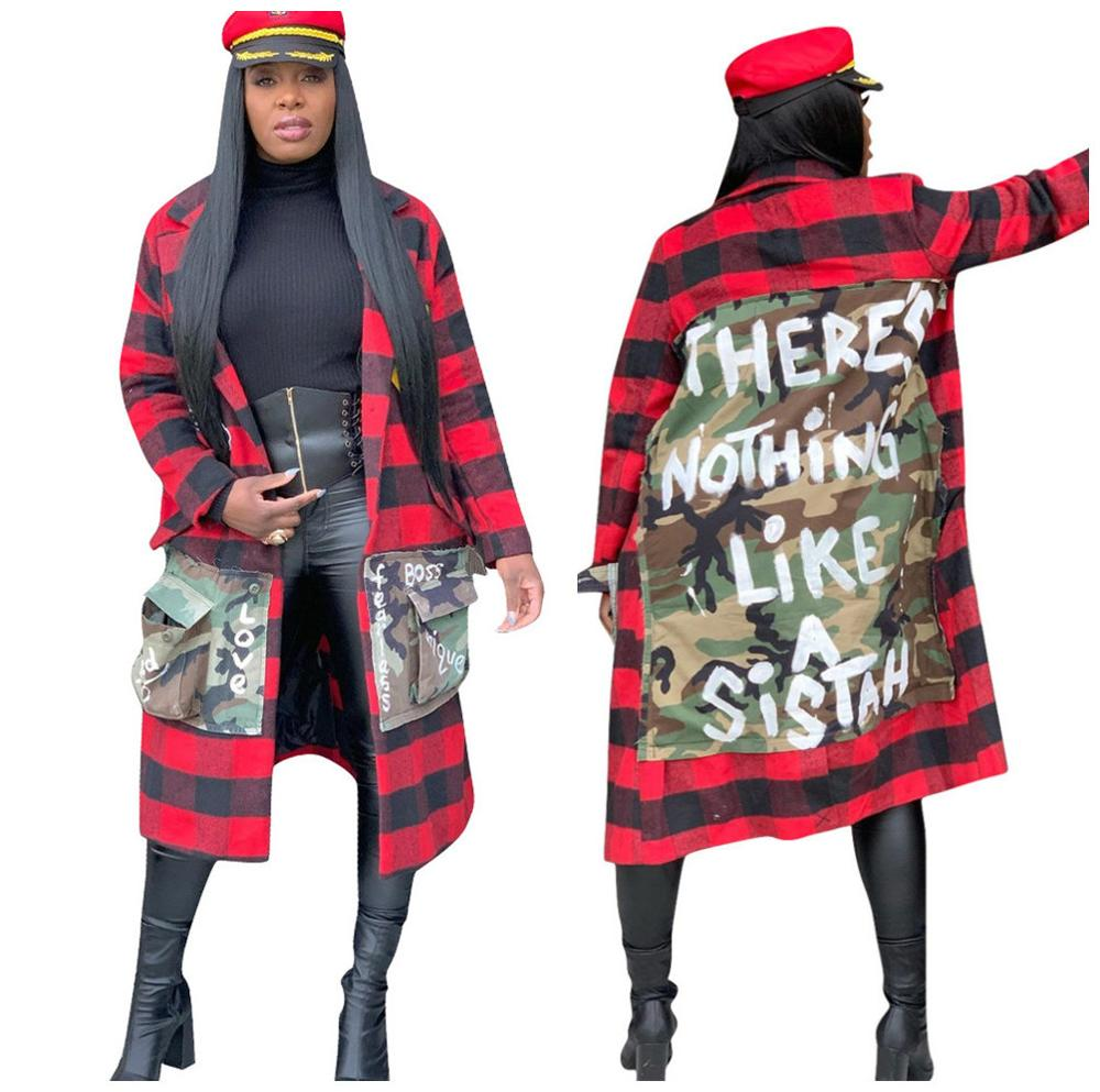 MG6237 <strong>women</strong> trendy stylish camouflage patched plaid coat