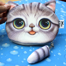 New Small Tail Cat Coin Purse Cute Cartoon Cat Head Storage Bag Personality Creative Fashion Small <strong>Wallet</strong>