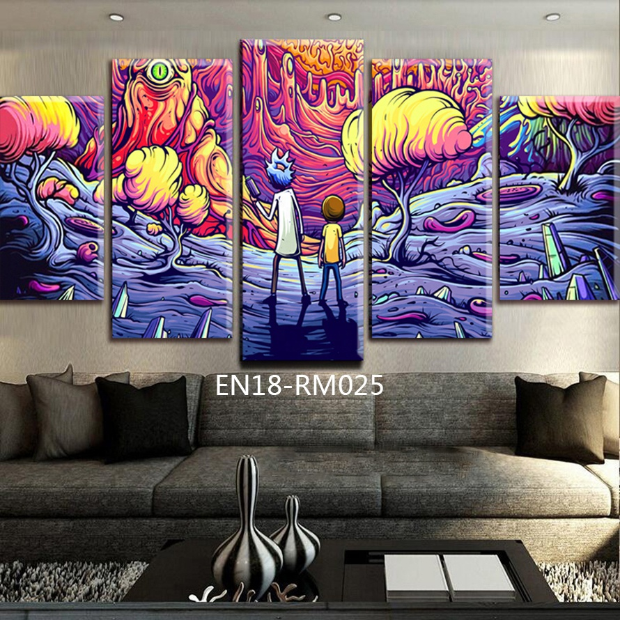 5 Panels Canvas Painting rick and morty poster Wall Art Painting Modern Home Decor <strong>Picture</strong> For Living Room