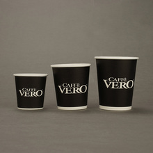 Wholesale White Text on Black Background Disposable <strong>Paper</strong> Coffee Cup