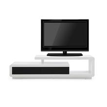 White Mdf Table Black 2 Drawers Classic Lcd Tv Cabinet Unit <strong>Furniture</strong>