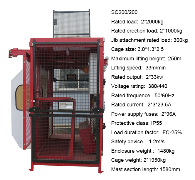 SC150/150Z Construction hoist and Elevator for lifting building material