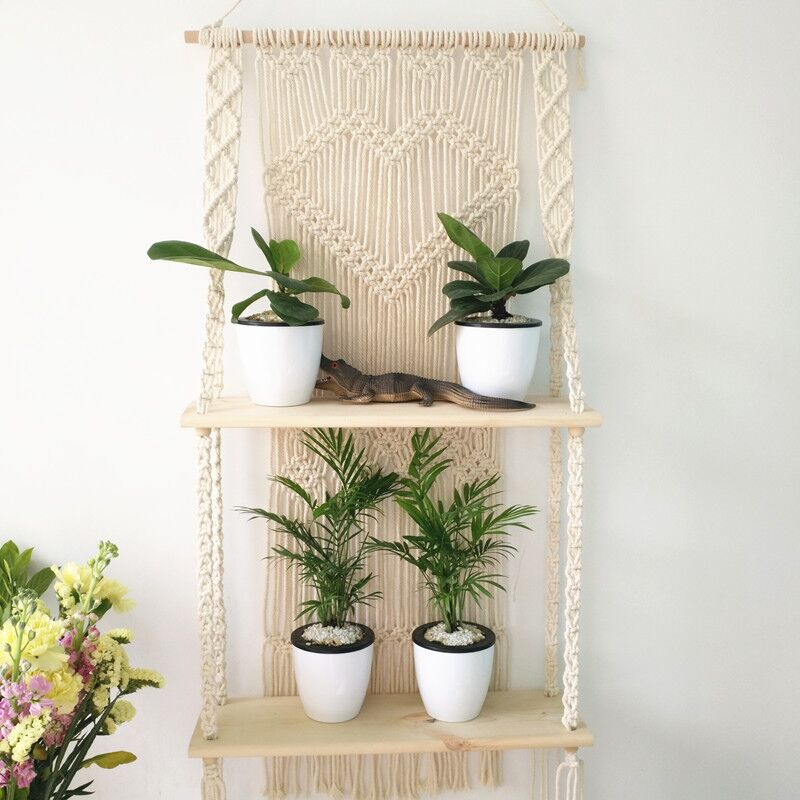 Woven Macrame Plant Hanger Rope Pot Hanging Holder with Double Wooden Shelf Wall Hanging <strong>Decor</strong>
