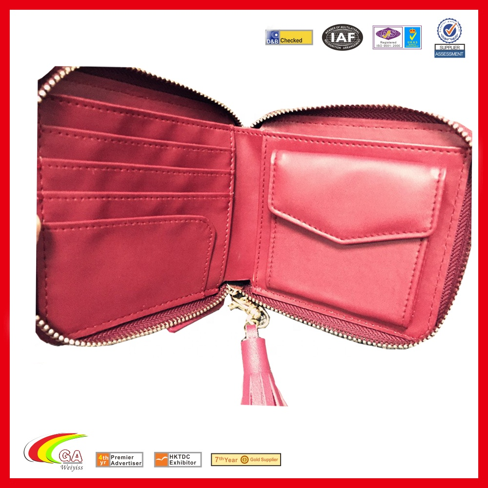 Red Zip Leather Coin Wallet, Best Selling Leather Cion Pouch for Custom