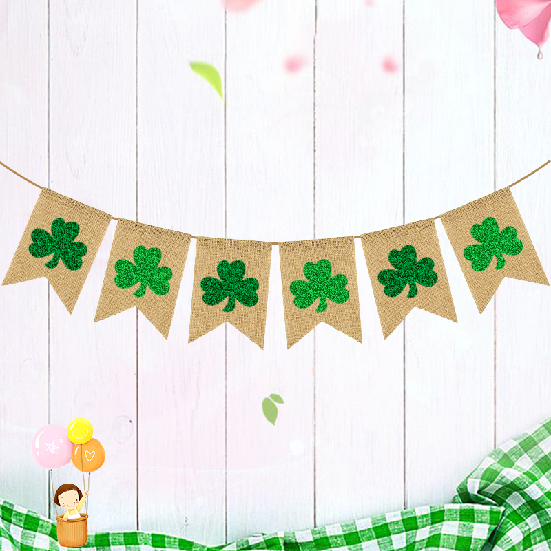 st. patrick home party favor decoration supplies burlap 4 Clover lucky shamrock banner