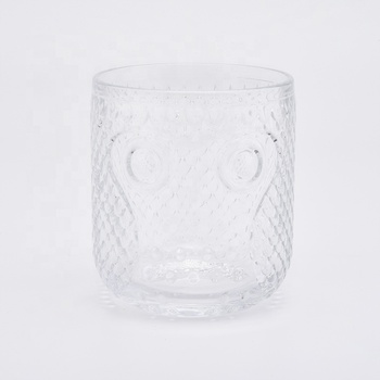 13oz Clear Glass Candle Holder Owl Embossed Home Decoration