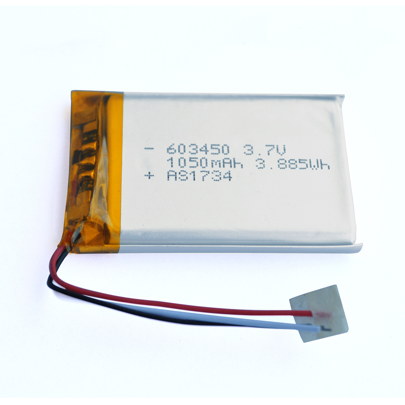 UL1642/IEC62133/KC/UN38.3 certification 3.7v 603450 lipo 3.7v 1050mah 3.885wh li ion polymer <strong>battery</strong>