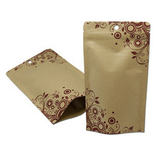 In stock wholesale <strong>paper</strong> food brown kraft packaging stand up zipper bag