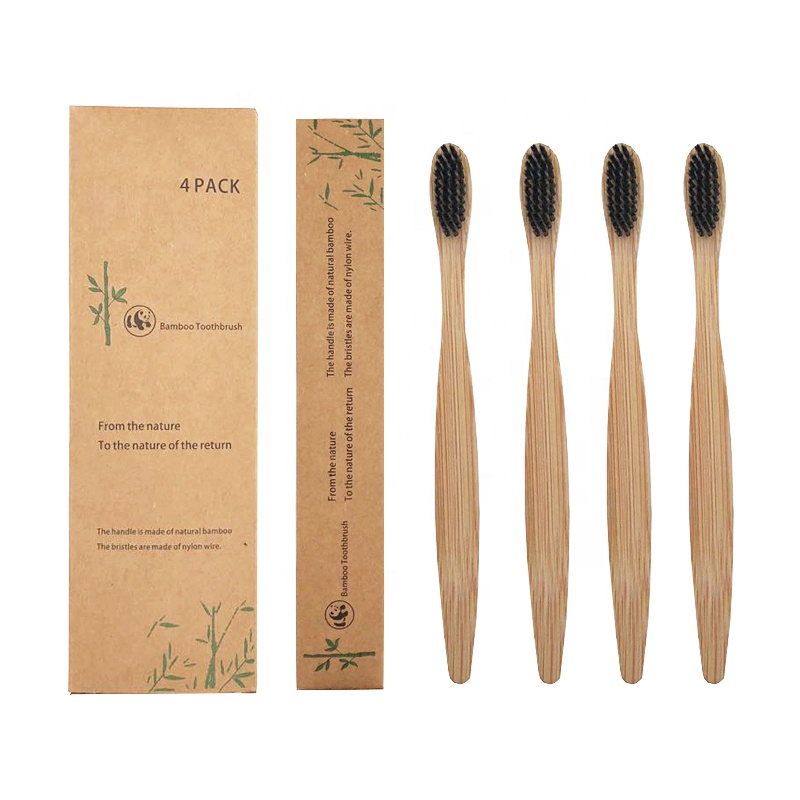 Pack of 4 pcs CE FDA Approved Eco Friendly Charcoal Bristle 100% organic Natural <strong>Bamboo</strong> Toothbrush