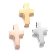 Beautifully polished small hole titanium steel bracelet necklace accessories cross <strong>charms</strong>