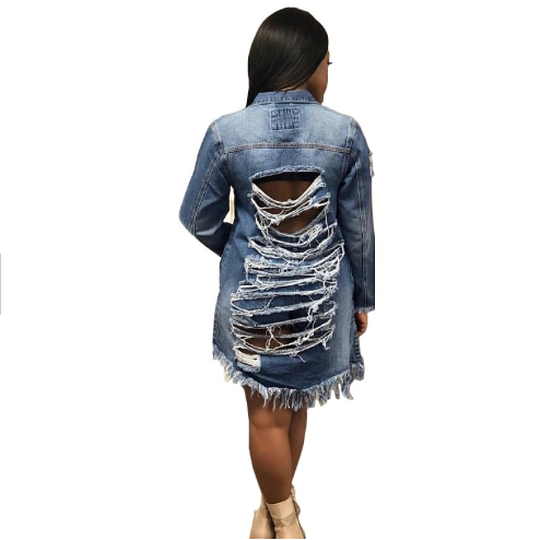 YH 2 Color Denim Jackets For Women Vintage Casual Coat Female Jean Outerwear Womens Coats Broken <strong>Hole</strong> Plus Size Y11017