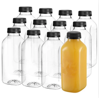 12-Pack,16 oz Clear Plastic Square Drink Bottles for Storing Homemade Juices,water Smoothies,Tea
