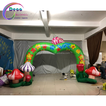 Party event deco inflatable mushroom archway Alice in Wonderland