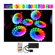 <strong>RGB</strong> Adjusted 15LED 120mm Computer Case PC Cooling Fan quiet + Remote fan computer Cooler Cooling 12cmRGB game pc Case fan
