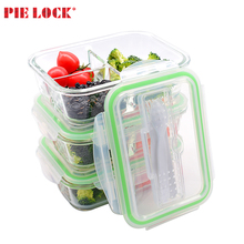 3 Compartment Food Containers Microwave Glass Lunch Box with Cutlery / glass meal prep container /glass food container