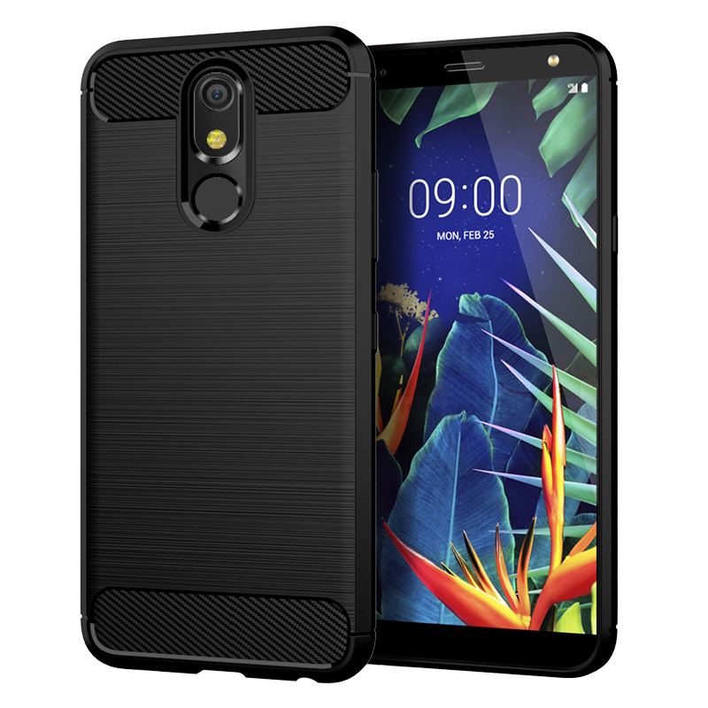 New Arrival Simple Soft TPU Carbon Fiber Brushed Anti-fingerprints Mobile <strong>Phone</strong> Back Cover Case for LG K30 K40 K12 Plus G8S Thin