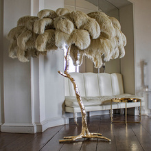 Northern Ostrich Feather Gold Copper Brass Resin Floor Lamp Feather Standing Lamps For Living Room Floor <strong>Light</strong>