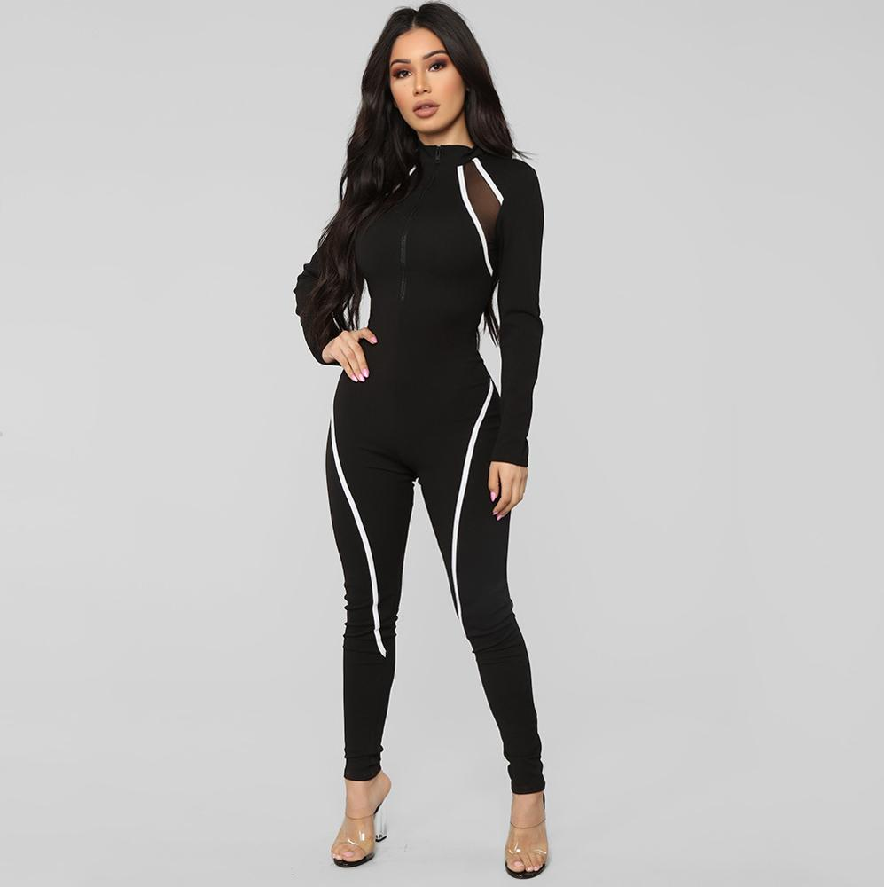 Dropshipping fitness gym fall clothing long sleeve black reflective rompers jumpsuit for <strong>women</strong>