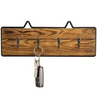 Rustic Wire Wall Mounted Wooden Key Holder with Hooks