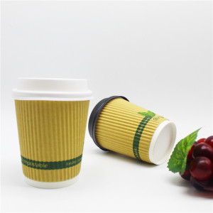Cheap Factory Price 12oz triple ripple wall paper cup with lid and straw coffee