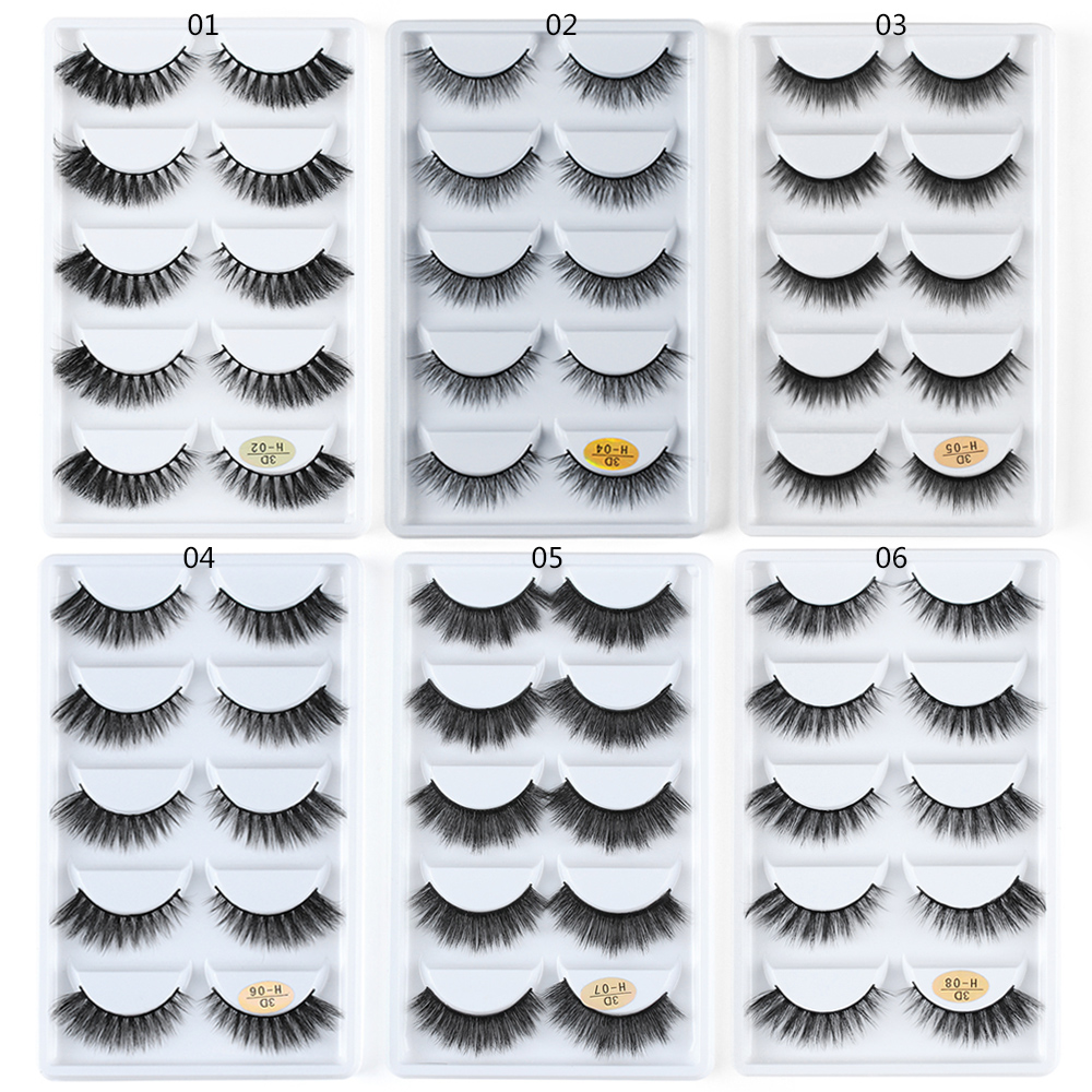 5 Pairs Mink Eyelashes 3D False Lashes Thick Crisscross Makeup Eyelash Extension Natural Volume Soft Fake Eye Lashes H Series