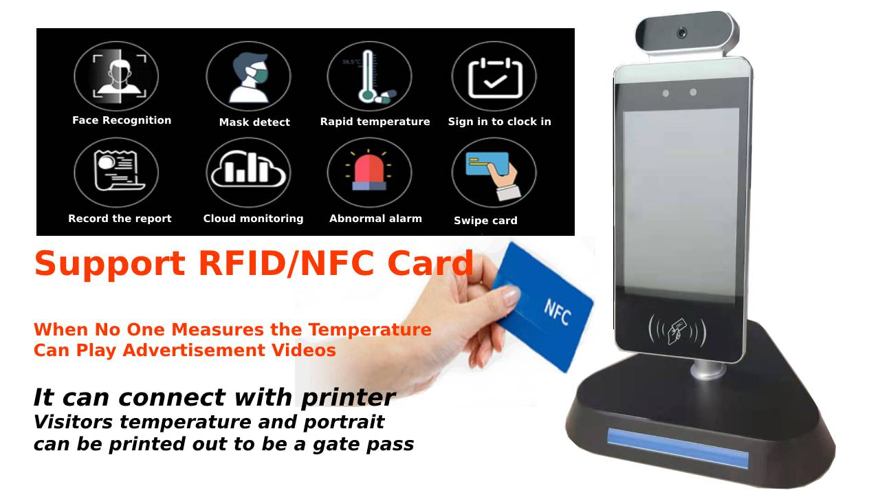 Face recognition temperature Measurement Kiosk Support time attendance Access Controller with hand sanitizer dispenser automatic