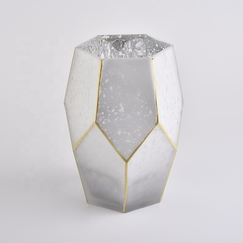 frosted white glass candle holders with gold rim